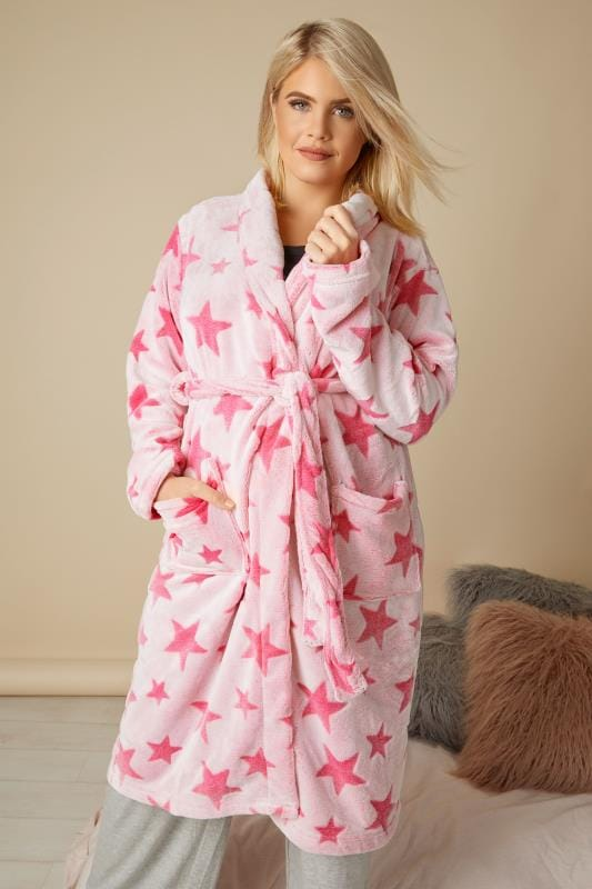 Plus Size Dressing Gowns Pink Star Fleece Dressing Gown