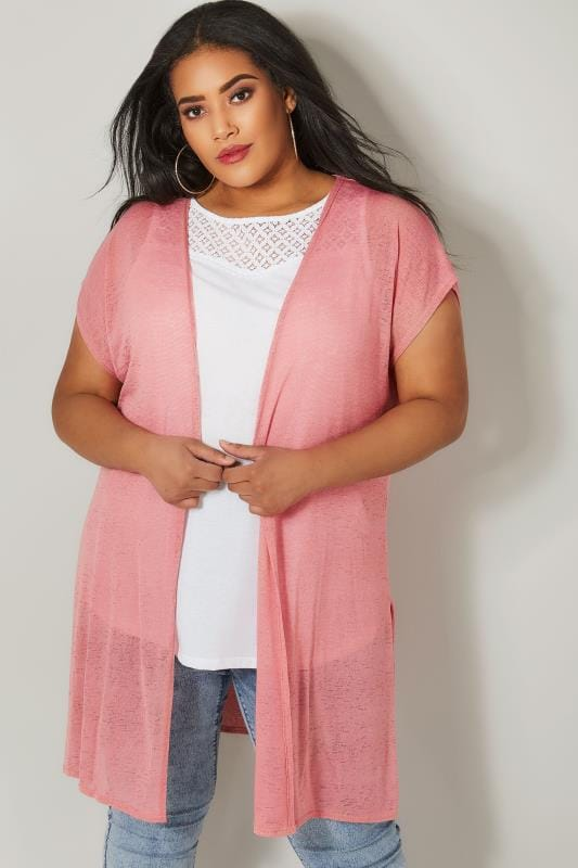 Plus Size Cardigans Pink Textured Cardigan With Grown-On Short Sleeves