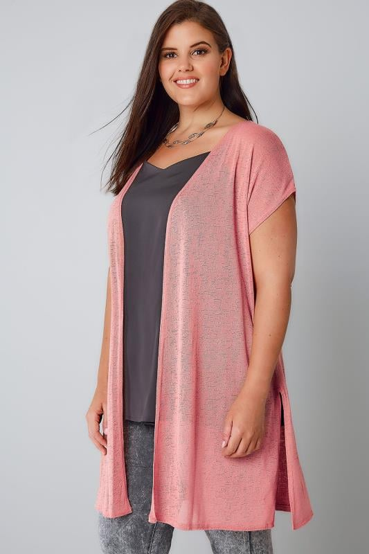 Pink Textured Cardigan With Grown-On Short Sleeves