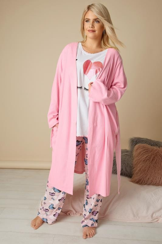 Pink Textured Cotton Dressing Gown