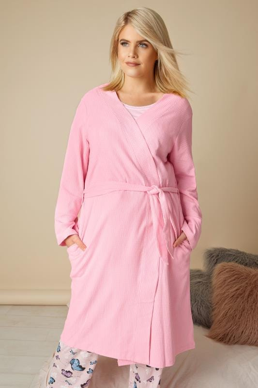 Plus Size Dressing Gowns Pink Textured Cotton Dressing Gown With Pockets