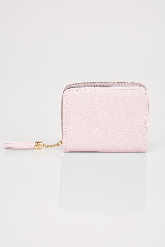 Pink Textured PU Zip Around Purse With Tab Pocket & Tassel
