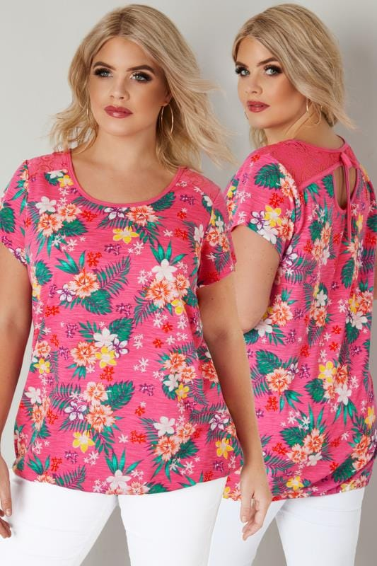 Plus Size T-Shirts Pink Tropical Floral Lace Top