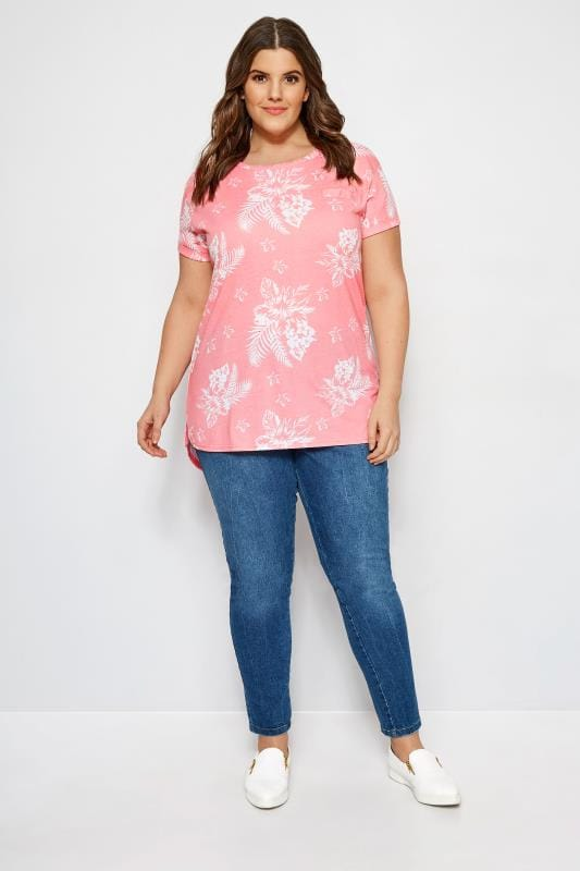 Pink Tropical Floral Mock Pocket T-Shirt