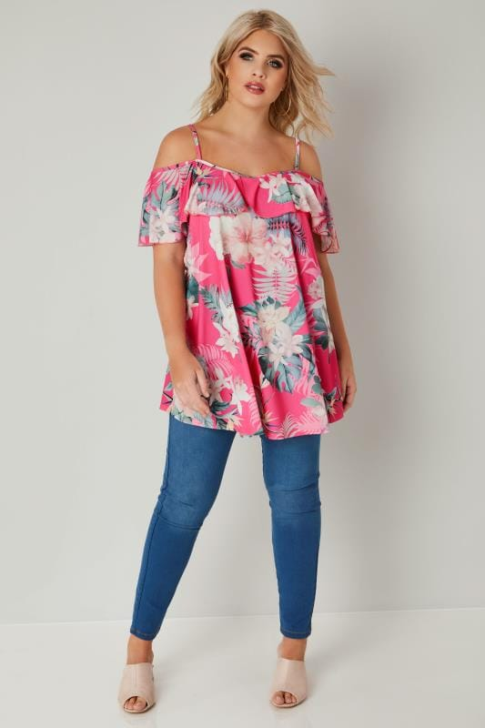 Pink Tropical Floral Print Cold Shoulder Top