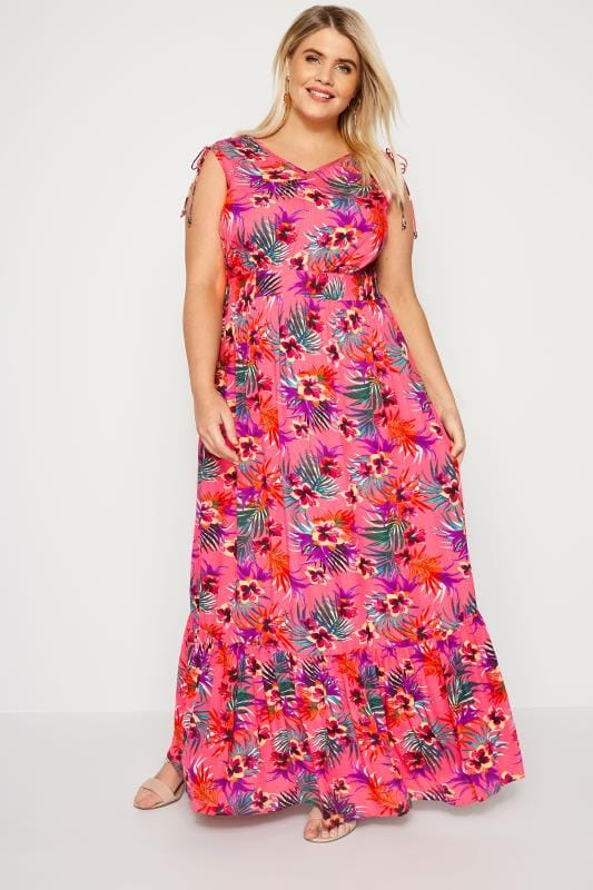 427aa97dd8 Pink Tropical Maxi Dress | Plus Sizes 16 to 36 | Yours Clothing