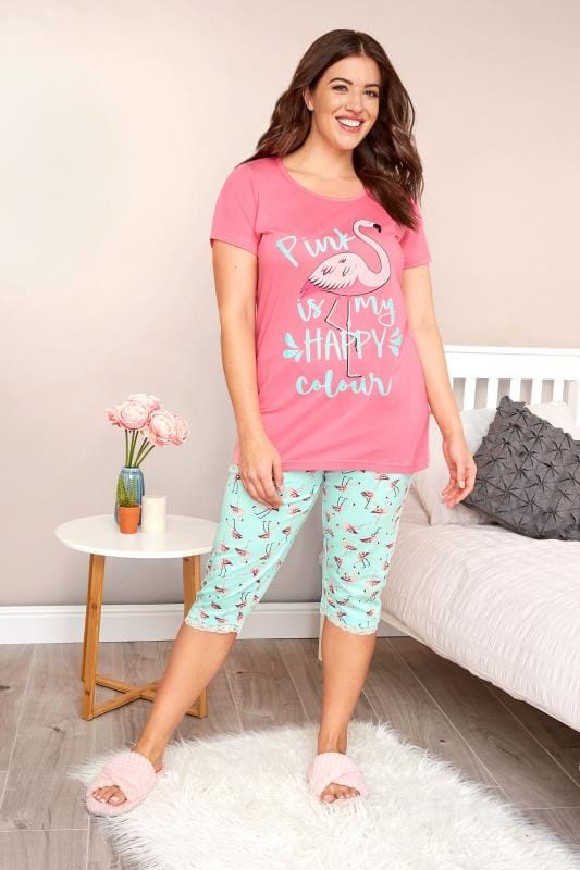 Plus Size Pyjamas Pink & Turquoise Flamingo Cropped Pyjama Set