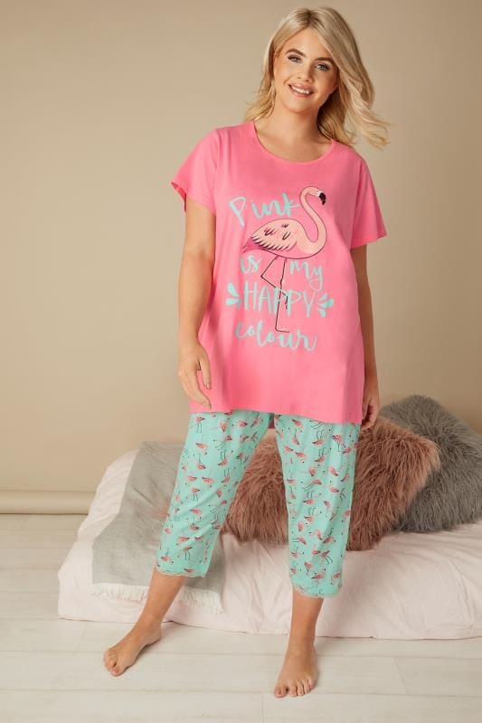 Plus Size Pyjamas Pink & Turquoise Flamingo & Slogan Print Cropped Pyjama Set