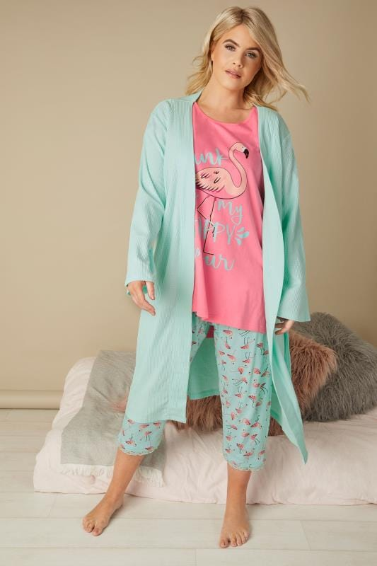 Pink & Turquoise Flamingo Cropped Pyjama Set