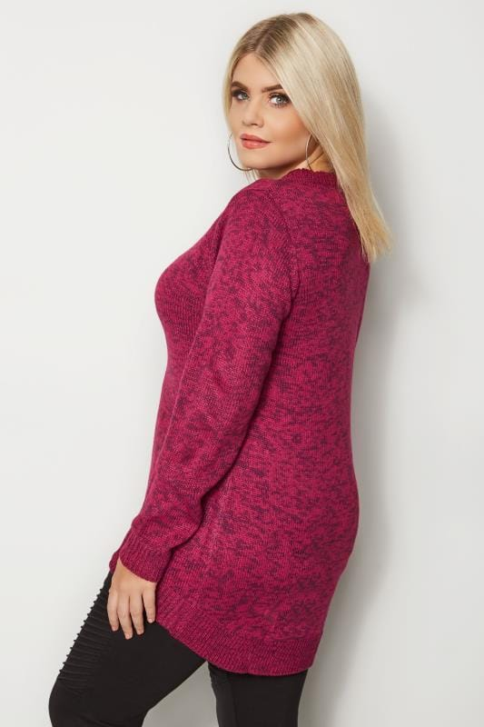 Plus Size Sweaters Pink Twist Knitted Jumper