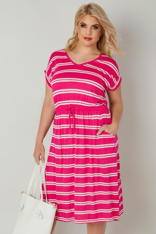 Plus Size Midi Dresses Pink & White Double Stripe T-Shirt Dress With Pockets & Elasticated Waistband