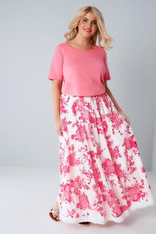 Pink & White Floral Print Tiered Maxi Skirt With Lace Trim Hem