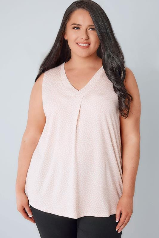 Jersey Shirts Pink & White Spotted Sleeveless V-Neck Jersey Top 134125