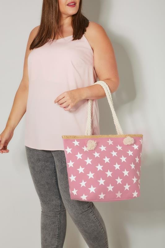Plus Size Bags & Purses Pink & White Star Print Beach Bag With Rope Handles