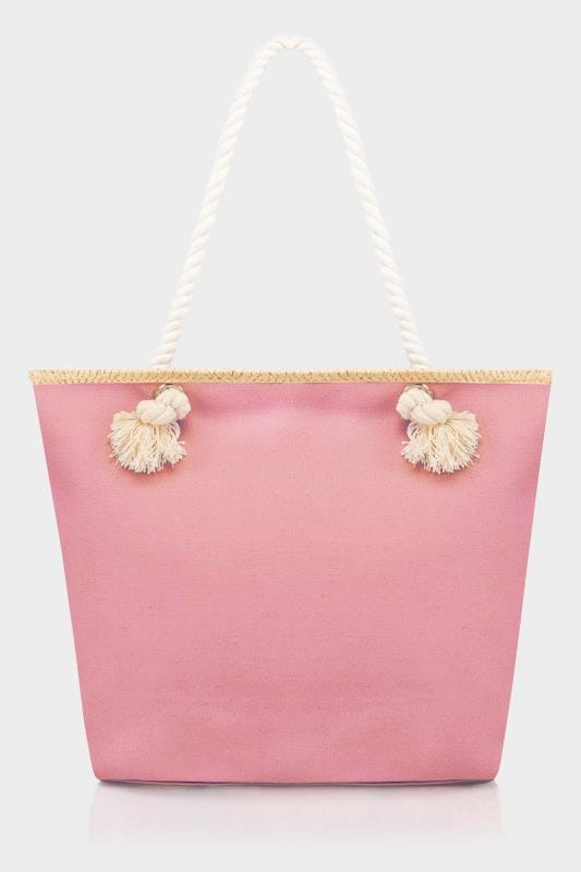 Pink & White Star Print Beach Bag With Rope Handles