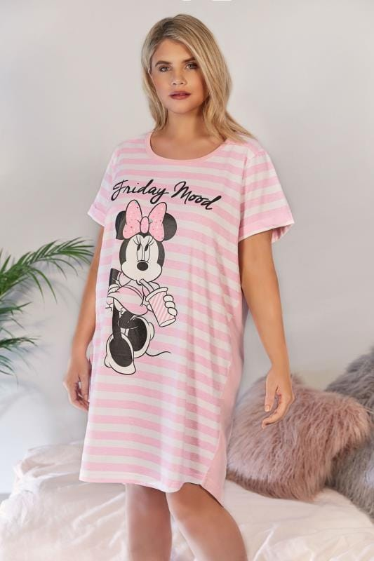 Pink & White Striped Disney Minnie Mouse 'Friday Mood' Nightdress