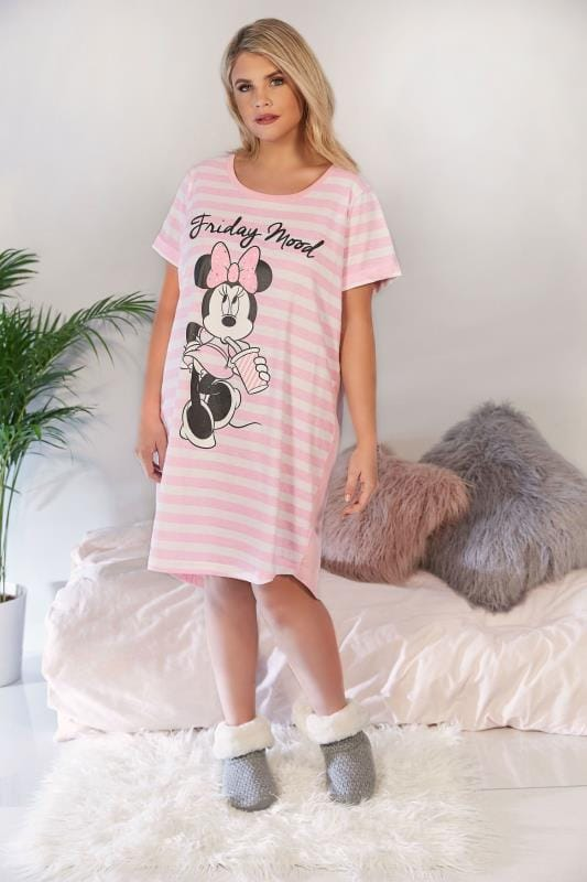 Pink & White Disney Striped Minnie Mouse 'Friday Mood' Nightdress