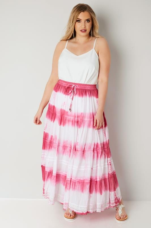 Pink & White Tie Dye Tiered Maxi Skirt With Lace Trim Hem