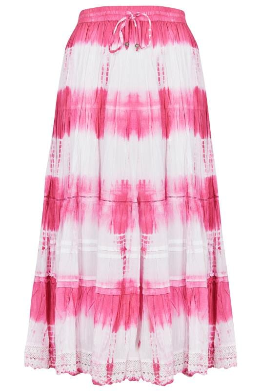 Pink & White Tye Dye Tiered Maxi Skirt With Lace Trim Hem