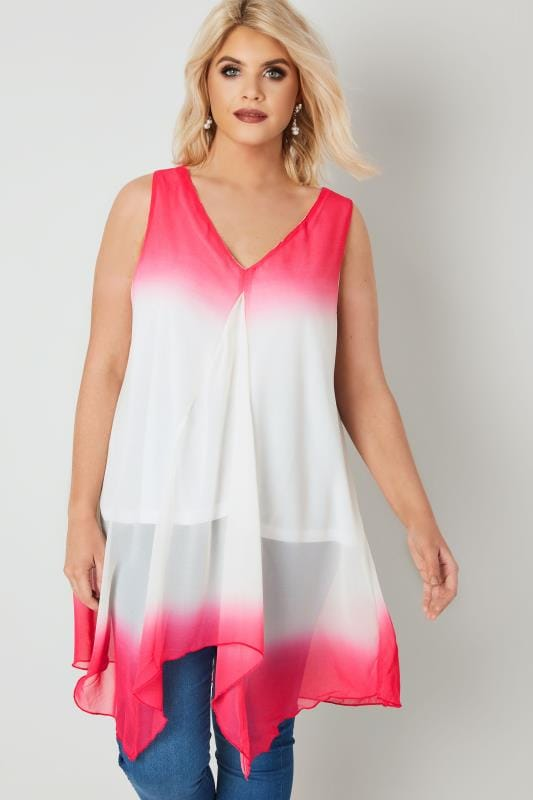 Pink & White Woven Sleeveless Top With Hanky Hem