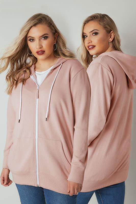 Plus Size Hoodies & Jackets Pink & White Zip Through Hoodie
