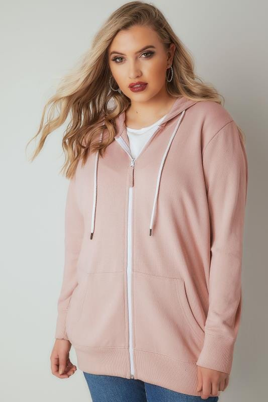 Pink & White Zip Through Hoodie