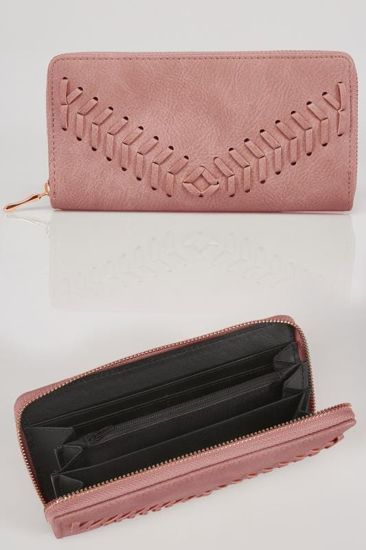 Pink Zip Around Purse With Herringbone Stitch Detail