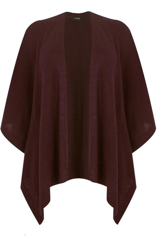 Plus Size Wraps Burgundy Knitted Wrap