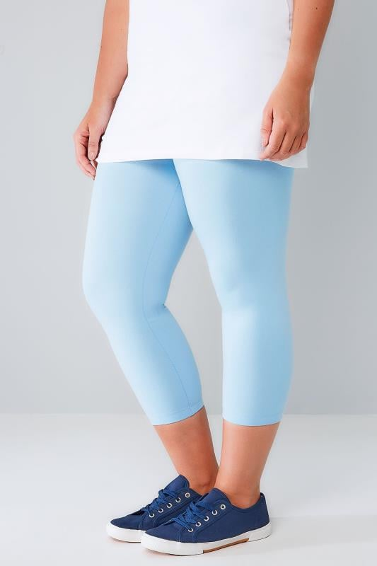 Powder Blue Cotton Elastane Cropped Leggings