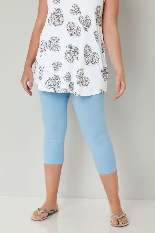 Powder Blue Cotton Essential Cropped Leggings