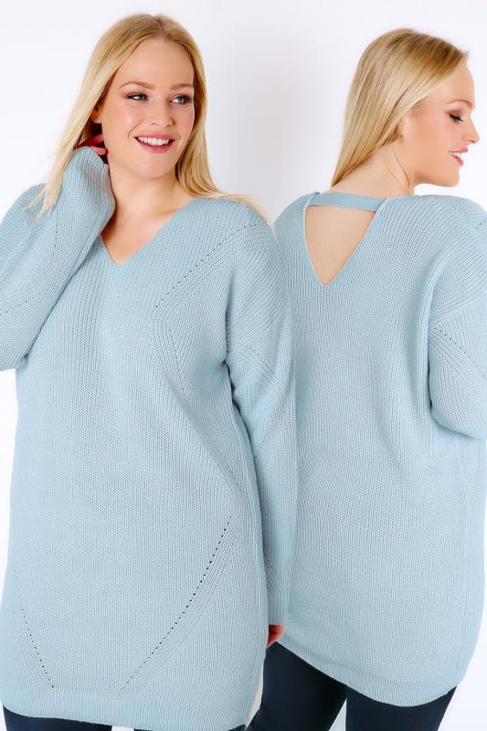 Powder Blue Longline Jumper With Pointelle Detail & Back Cut Out