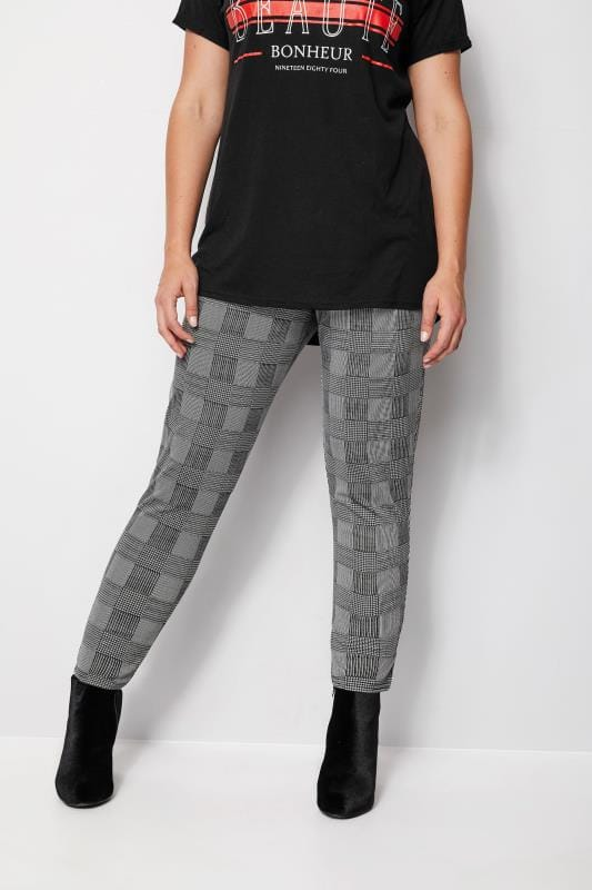 Black & White Prince of Wales Check Harem Trousers