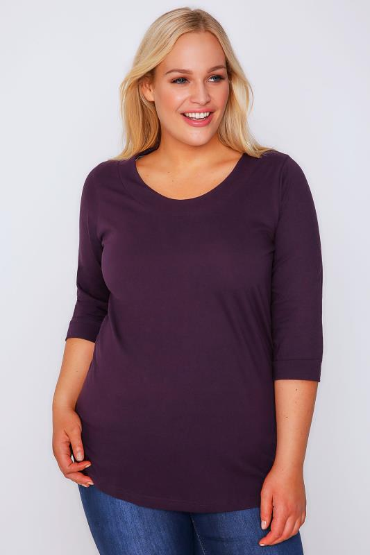 Purple Band Scoop Neckline T-Shirt With 3/4 Sleeves