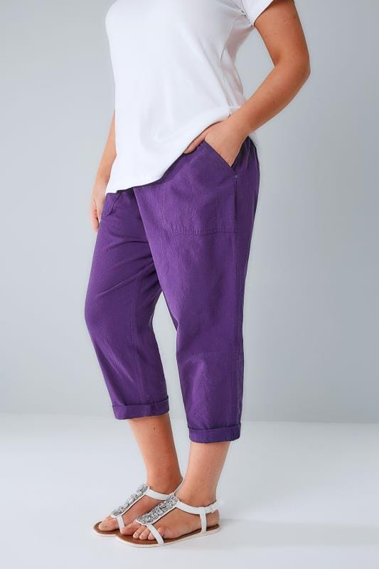Purple Cool Cotton Pull On Tapered Cropped Trousers