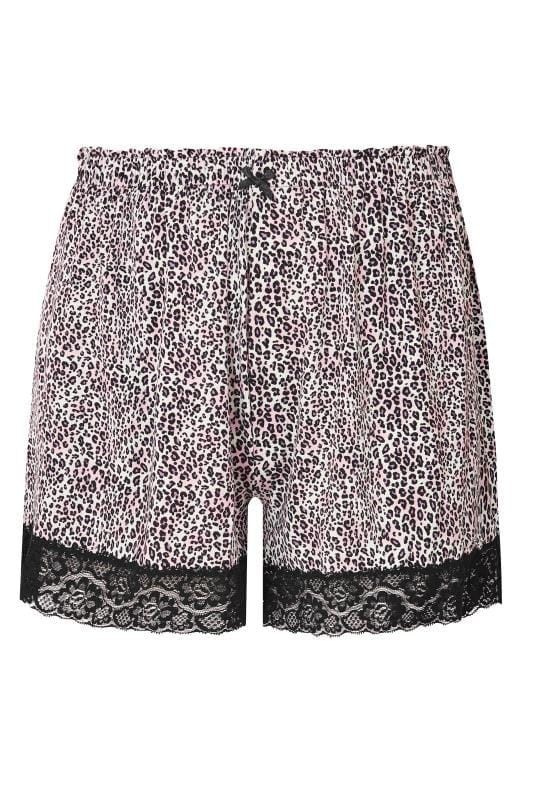 Plus Size Plus Size Loungewear Purple & Black Leopard Print Lace Loungewear Shorts