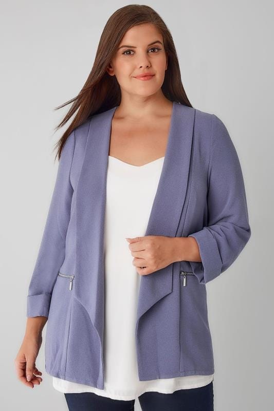 Dusky Purple Bubble Crepe Blazer Jacket With Zip Pockets