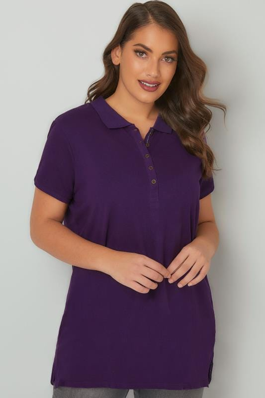 Plus Size Basic T-Shirts & Vests Purple Button Up Polo Shirt