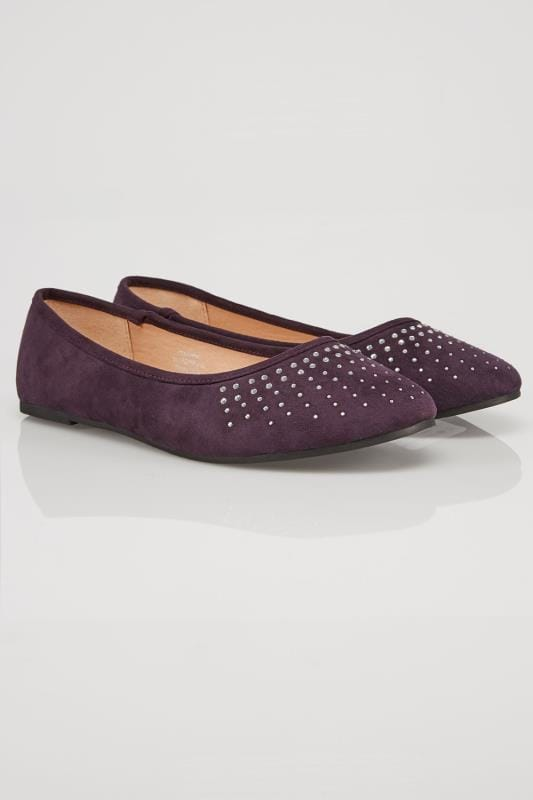Purple Diamante Ballerina Pumps In EEE Fit