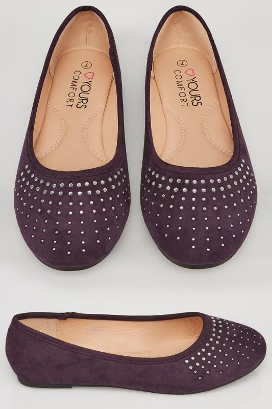Wide Fit Flat Shoes Purple Ballerina Pumps With Diamante Detail In TRUE EEE Fit