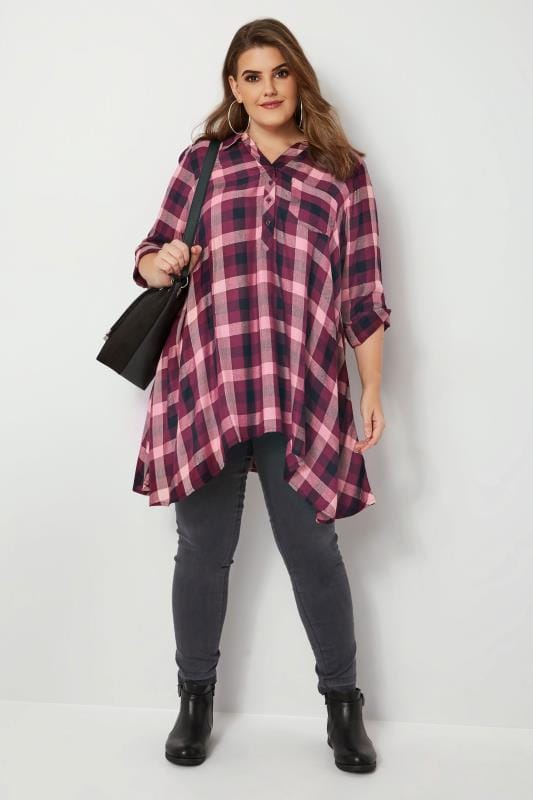 Purple Check Asymmetric Shirt