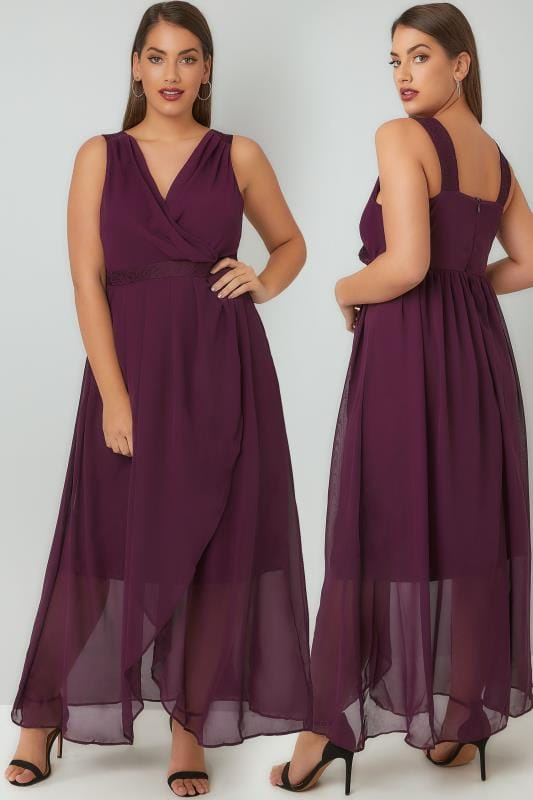 Plus Size Maxi Dresses Purple Chiffon Maxi Dress With Wrap Front & Lace Details