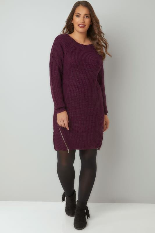 Purple Chunky Knit Tunic Dress With Zip Hem