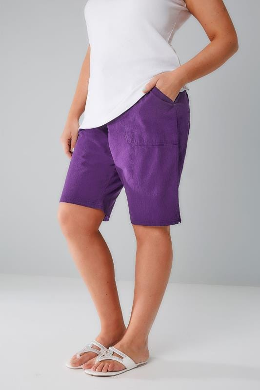 Cool Cotton Shorts Purple Cool Cotton Pull On Shorts With Pockets 144050