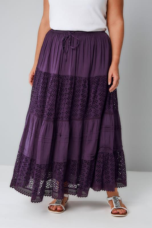 Purple Crinkle Cotton Tiered Maxi Skirt With Broderie Anglaise