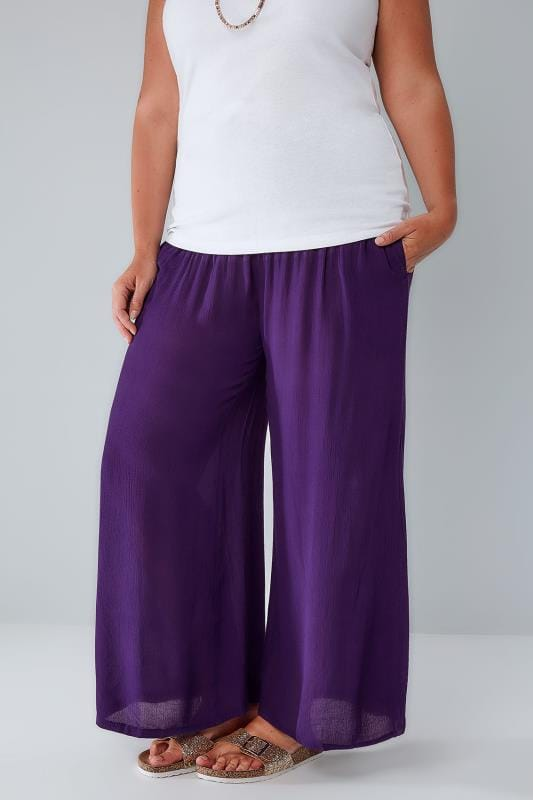 Plus Size Wide Leg & Palazzo Trousers Purple Crinkle Wide Leg Trousers With Ruched Elasticated Waist Panel