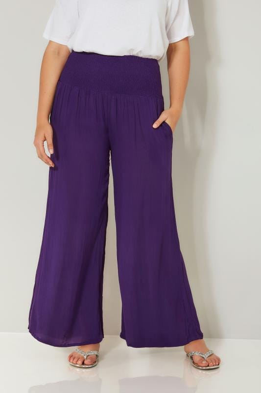 Purple Crinkle Wide Leg Trousers With Ruched Elasticated Waist Panel