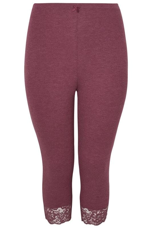 Grote maten Grote maten Pyjama's Purple Lace Cropped Loungewear Leggings