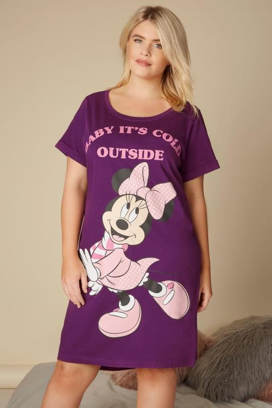 ecf2cf005eb67 Purple Disney Minnie Mouse 'Baby It's Cold Outside' Nightdress, plus ...