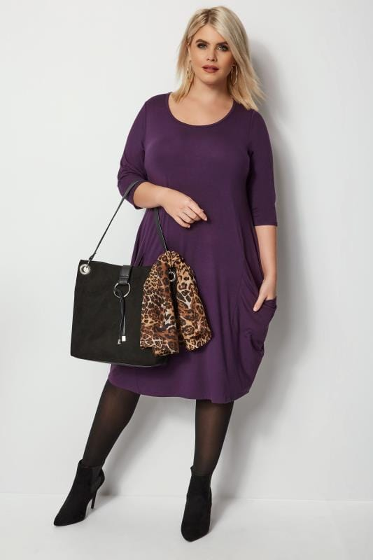Purple Drape Pocket Dress