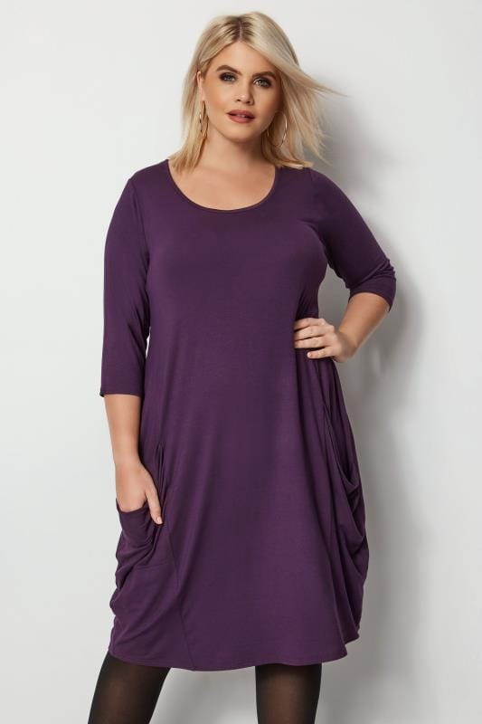 Plus Size Swing Dresses Purple Drape Pocket Dress